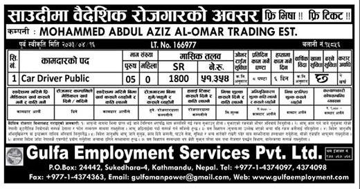 Free Visa, Free Ticket, Jobs For Nepali In Saudi Arabia, Salary -Rs. 51,354/