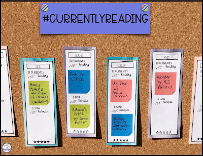Picture of a bulletin board with the title #currentlyreading and student sticky notes.