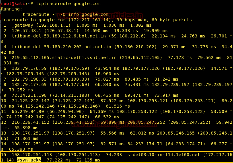 Working of Traceroute using Wireshark