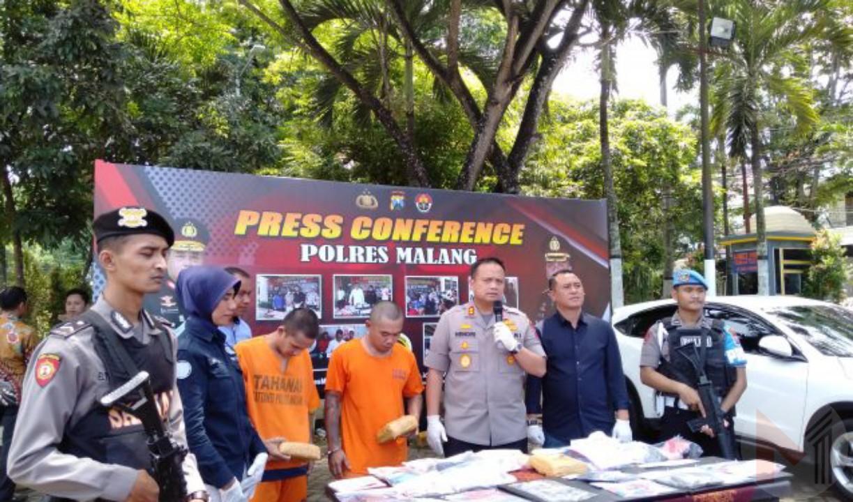 Jajaran Satreskoba Polres Malang Amankan 2 Kg Ganja Dan Bekuk Pengedar Kakap