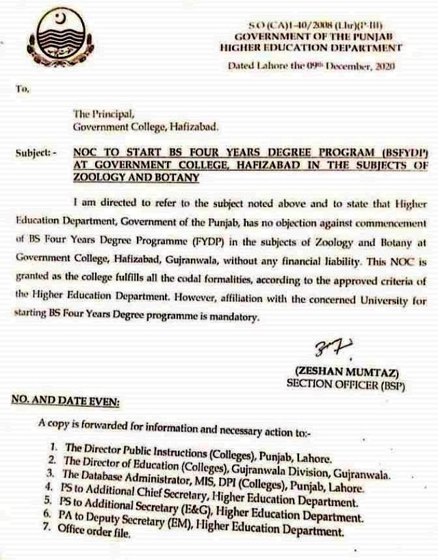 NOC TO START BS FOUR YEARS DEGREE PROGRAMME AT GOVT. COLLEGE HAFIZABAD