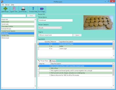 Screenshot of main PittRecipes software window