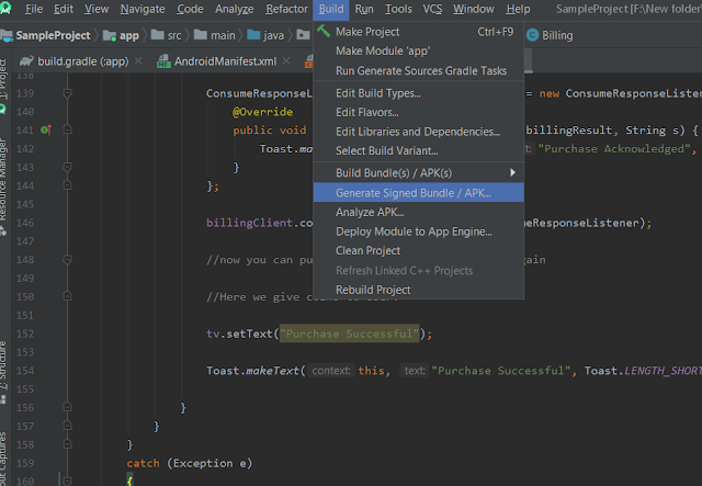 Generate Signed Bundle From Android Studio
