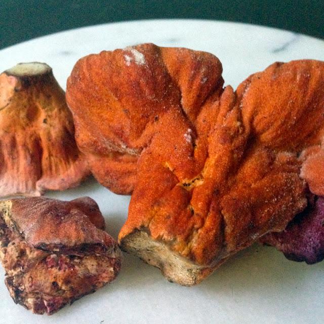Lobster mushrooms are vegetarian-friendly.