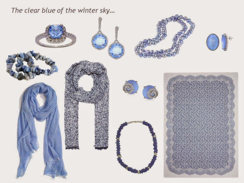 "A ""family"" of accessories in light blue, including jewelry and scarves"