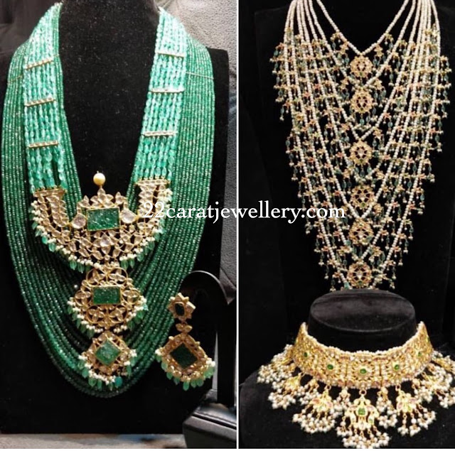 Emerald Beads Set with kundan Pendant