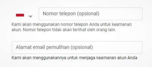 kolom telepon dan email pemulihan