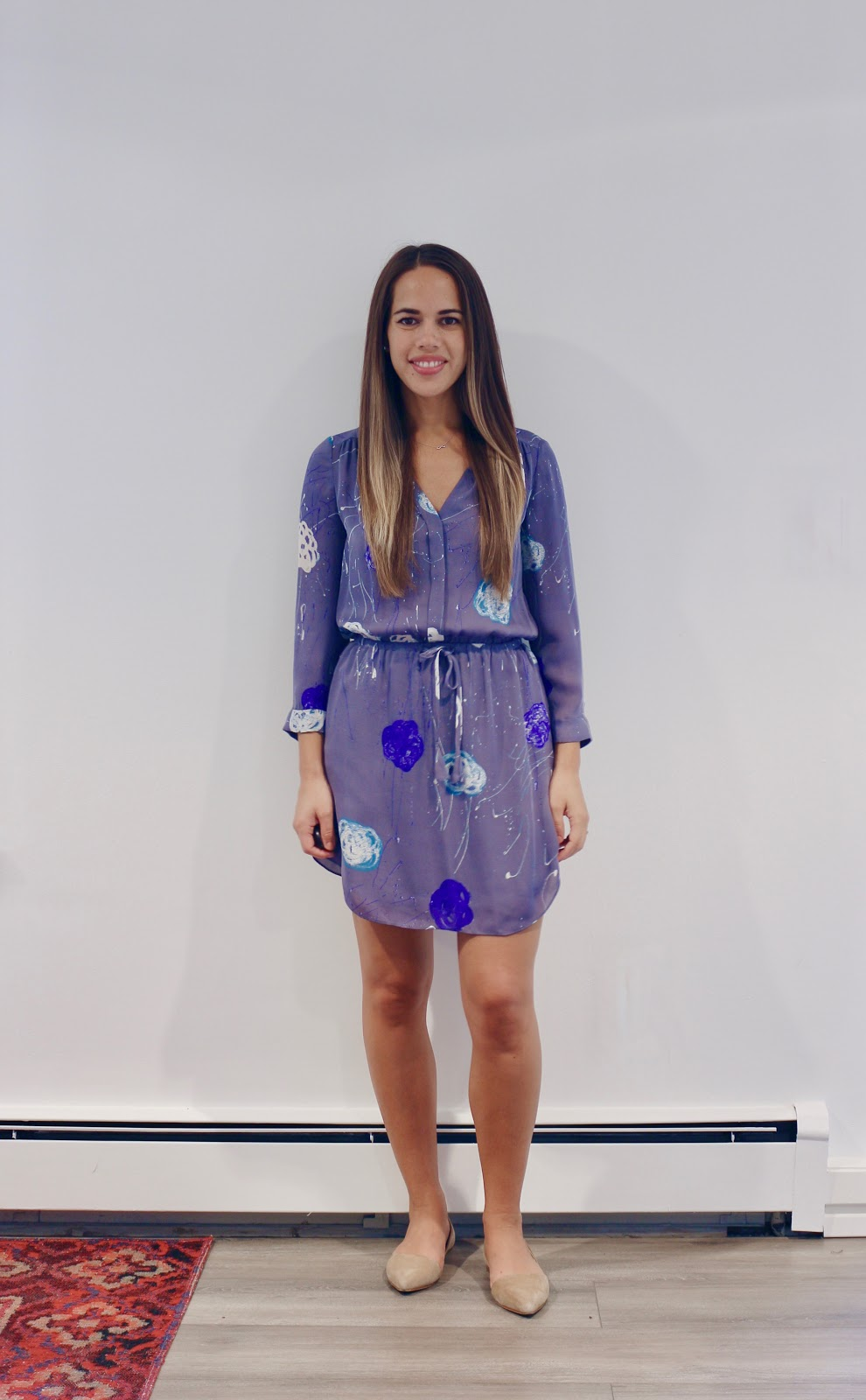 Jules in Flats -  Babaton Bennett Silk Shirt Dress (Business Casual Summer Workwear on a Budget)