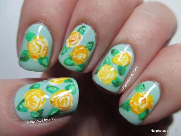 Lani #52wpnmc - Yellow Roses Freehand Nail Art Bb' Autumn Challenge