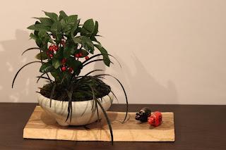 教室の生徒の皆さまの山野草盆栽作品に赤べこ黒べこを添えて