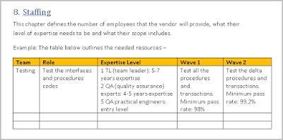 Statement of work Staffing Plan