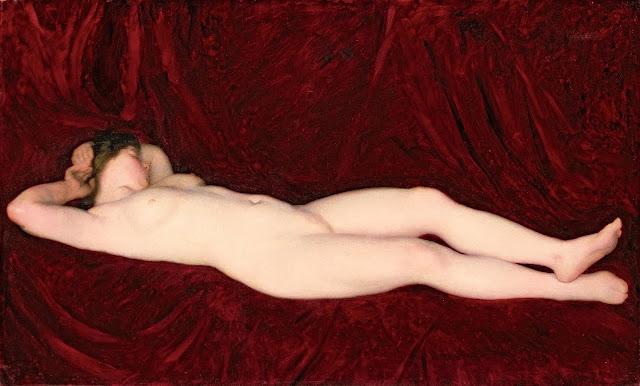 Karoly Ferenczy: Nudo disteso su sfondo rosso