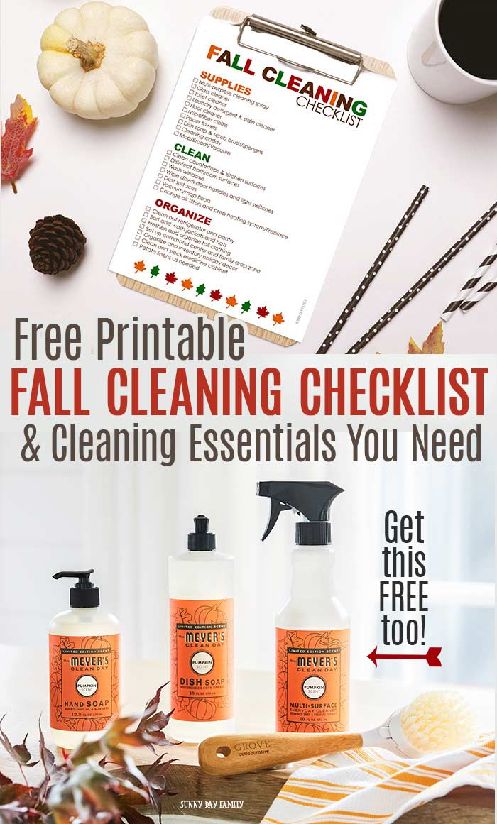 Get ready for Fall with a FREE printable Fall cleaning checklist! And find out how to get a Mrs. Meyers Seasonals Set for FREE when you join Grove Collaborative. Your house will smell amazing when you use the Pumpkin scented products (or try Apple Cider and Mum too). This is all your need for Fall cleaning! #cleaningtips #fall #pumpkin #home
