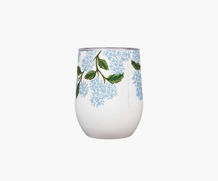 Hydrangea Cream Stemless Wine Cup | Corkicle and Rifle Paper Co.