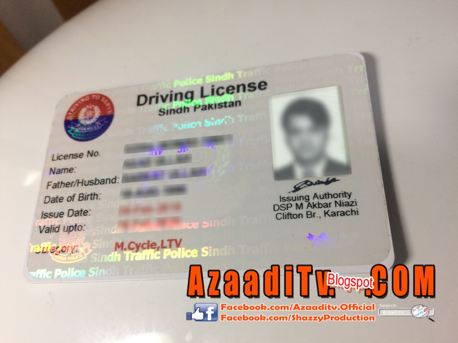 Driving Licence for Sindh,Pakistan Sample pics and Info