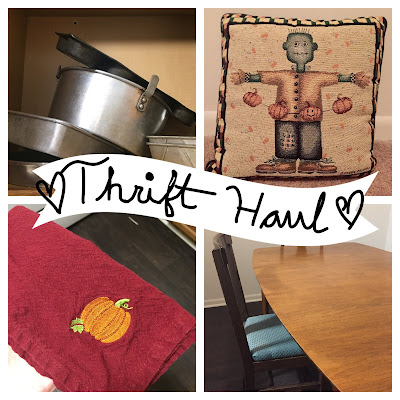 collage of four items bought from a thrift store, the words thrift haul are located in the center