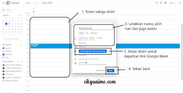 Create Link Google Meet melalui Google Calendar