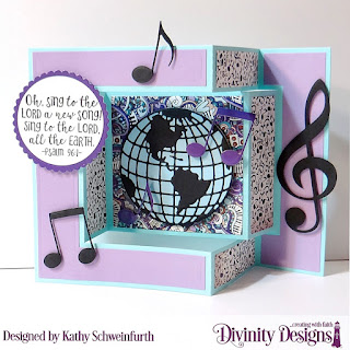 Divinity Designs Stamp Set: Color My World, Custom Dies: Tri-Fold with Layers, Globe & Stand, Musical Notes, Circle, Scalloped Circles, Paper Collection: Notable Notes