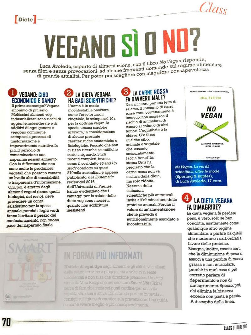 La pagina che Class ha dedicato al libro No Vegan