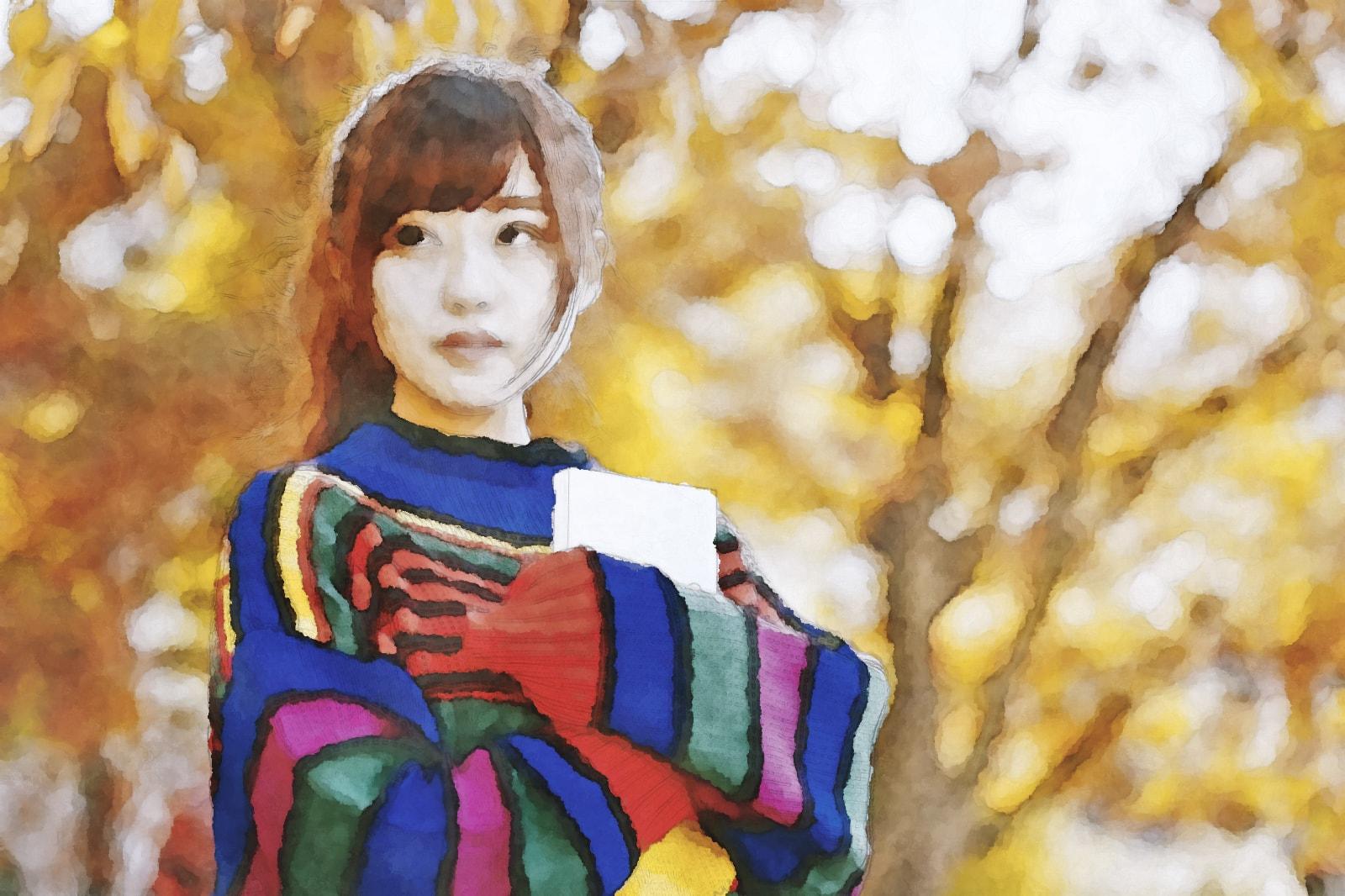 水彩画のニットの読書美女 モデル:河村友歌様