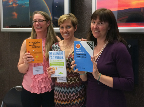 Eve, Tess and Corinne with their books