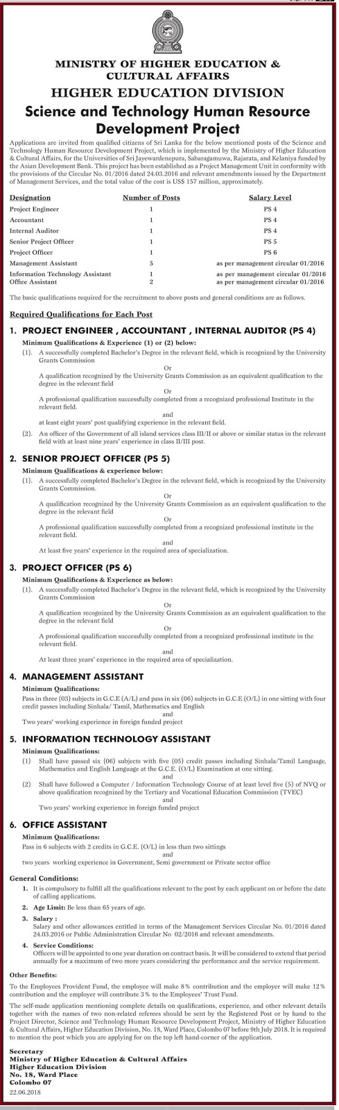 Ministry of Higher Education & Cultural Affairs Vacancies