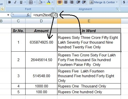 Amount Convert To Word In Excel