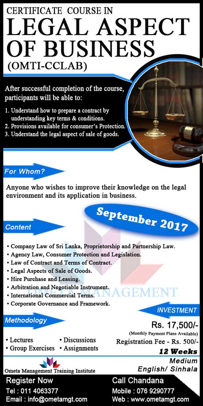Ometa Management | Certificate Course in Legal Aspect of Business (OMTI-CCLAB)