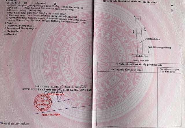 Sổ đỏ đất MT đường nhựa 8m KP3 Hắc Dịch Phú Mỹ Bà Rịa
