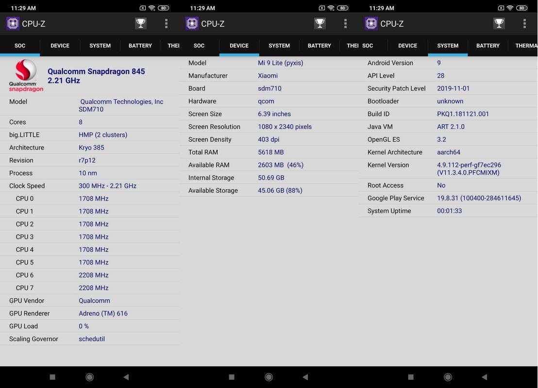 CPU-Z Xiaomi Mi 9 Lite