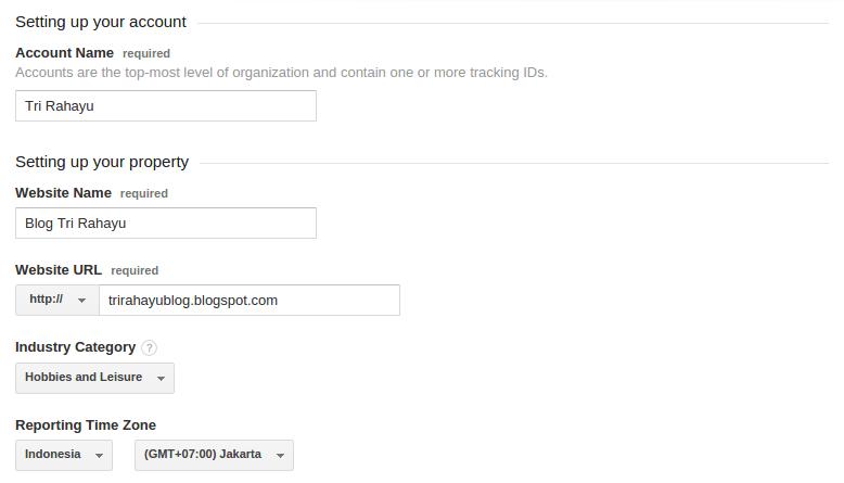 isi form registrasi google analytics