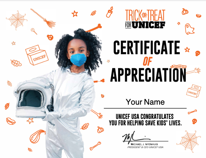 Celebrate Halloween with a virtual Trick or Treat box from UNICEF.