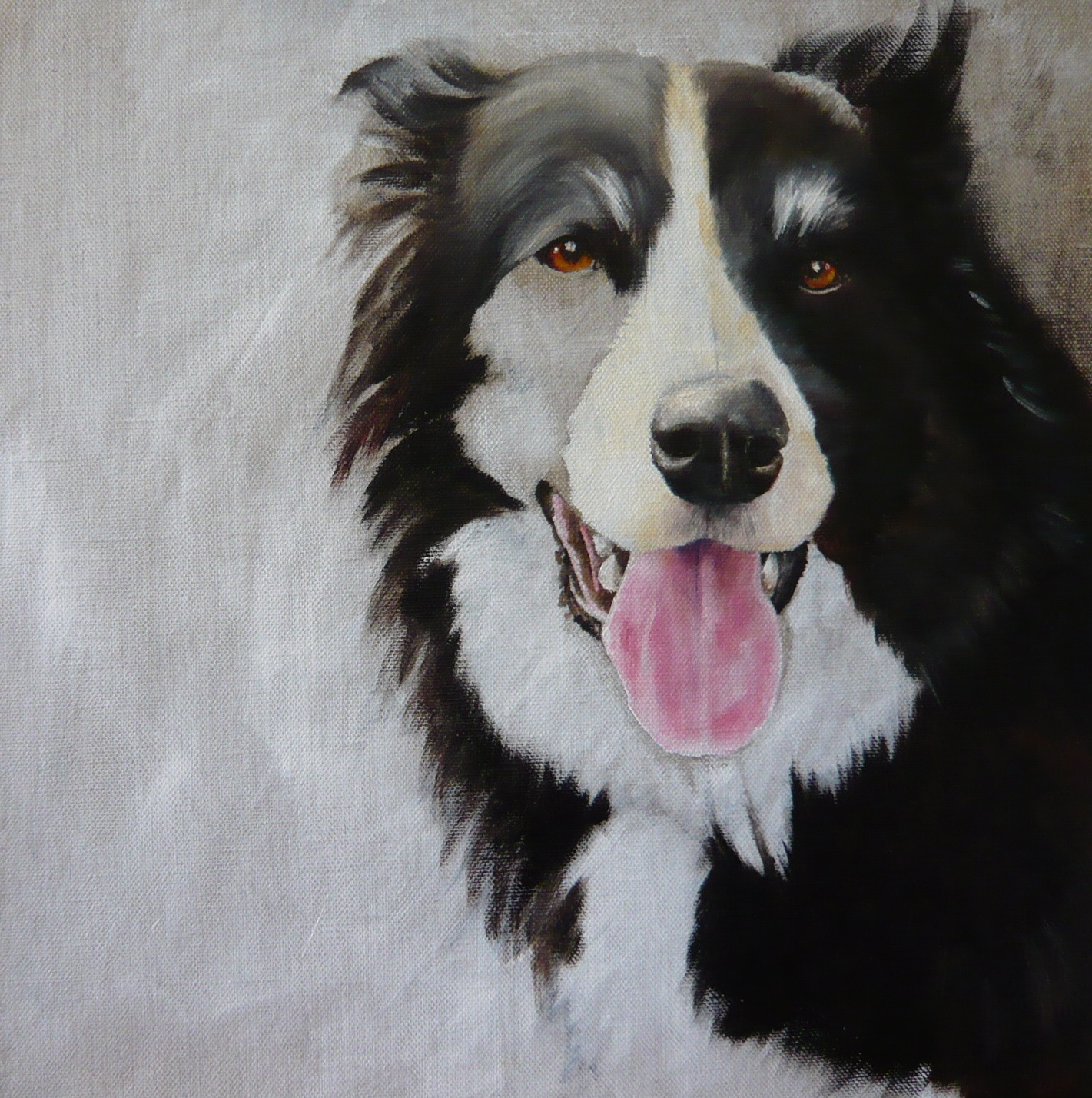 stage of a border collie oil painting, face and fur