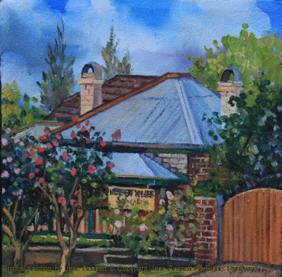 plein air oil painting of colonial heritage architecture, 'Cunningham's Cottage' in Thompson's Square, Windsor,  painted by artist Jane Bennett