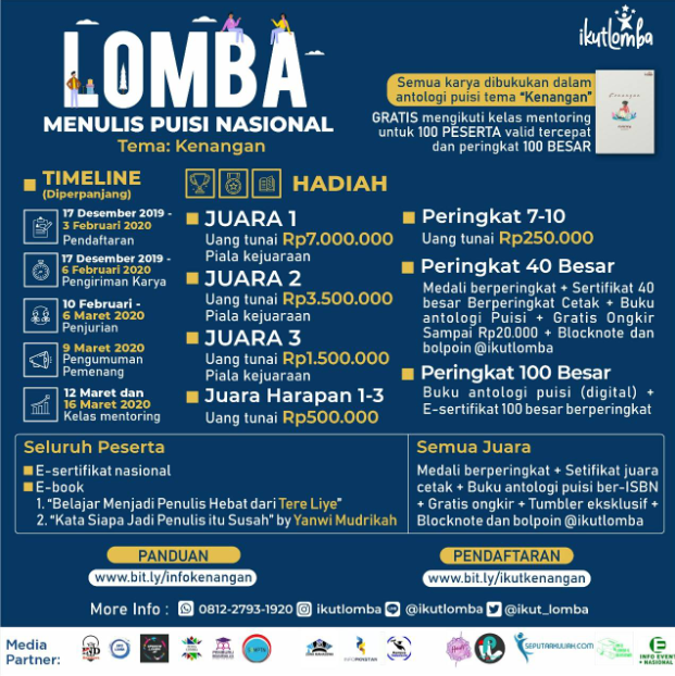 Lomba Menulis Puisi Nasional 2020 di @ikutlomba