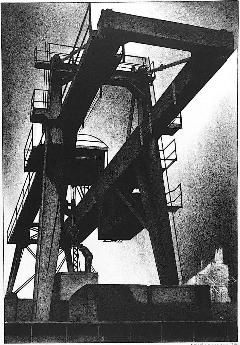 Louis Lozowick art, an industrial lift