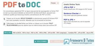 PDF2DOC outils en ligne pour le PDF
