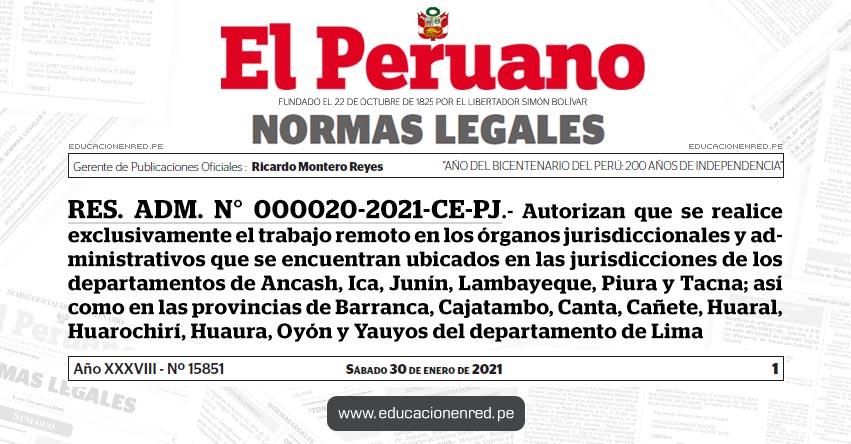 RES. ADM. N° 000020-2021-CE-PJ.- Autorizan que se realice exclusivamente el trabajo remoto en los órganos jurisdiccionales y administrativos que se encuentran ubicados en las jurisdicciones de los departamentos de Ancash, Ica, Junín, Lambayeque, Piura y Tacna; así como en las provincias de Barranca, Cajatambo, Canta, Cañete, Huaral, Huarochirí, Huaura, Oyón y Yauyos del departamento de Lima