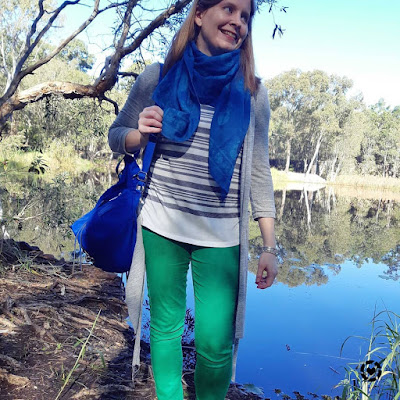 bush trail walking outfit green skinny jens cardigan skull scarf nylon backpack baby bag | awayfromblue Instagram