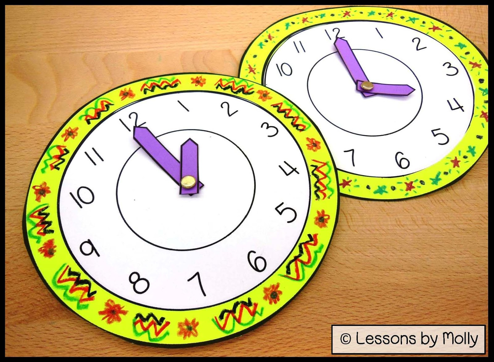 Lessons by Molly: Analog Paper Clock for Kids with Moveable Hour and ...