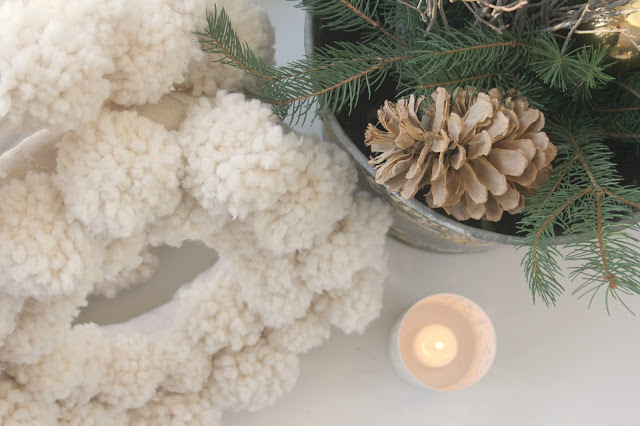 image result for hello lovely studio white pom pom wreath pinecones candle