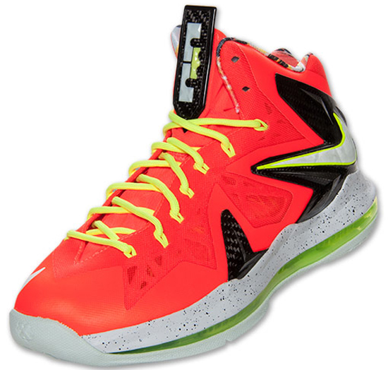 sports shoes 7d0d3 aecbc With the 2013 NBA Finals under way, the newest LeBron X release is here.  This Nike LeBron X PS Elite comes in a total crimson, fiberglass, black and  volt ...