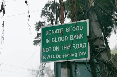Donate Blood in Blood Bank not in this road