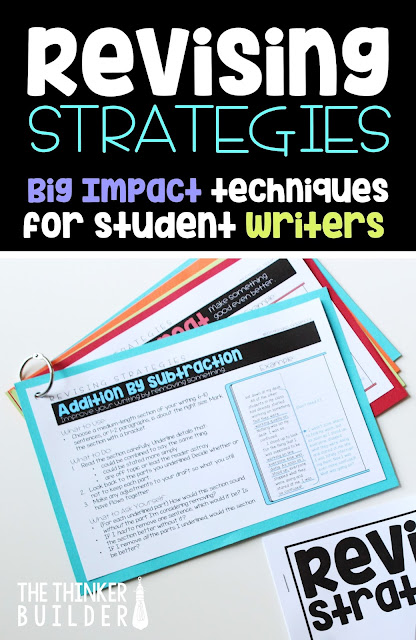 Revising. How often does it get skimped or morphed into glorified editing? Probably a little too often. Revising has the potential to be a powerful part of student writing, where opportunities are expansive. This blog post is packed with revising strategies that will have a BIG IMPACT on your students.