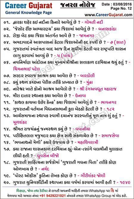 Career Gujarat General Knowledge Page - Dt. 03-08-2016