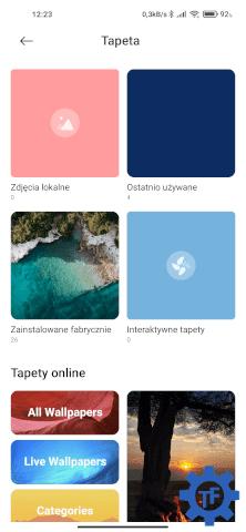 MIUI Ustawienia Tapeta