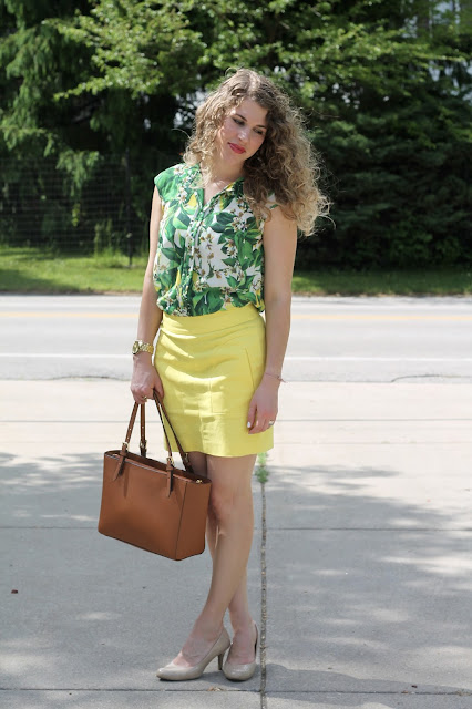 Palm print lemon top, yellow skirt, nude heels, Tory Burch tote, summer work outfit