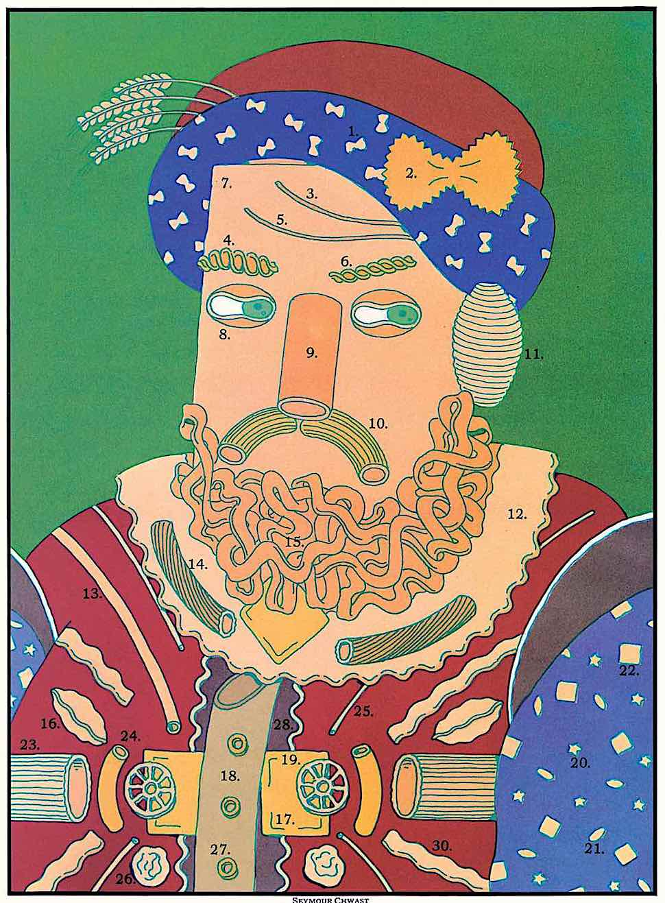 a Seymour Chwast illustration of a king made of pasta