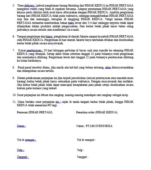 Contoh Surat Perjanjian Order barang
