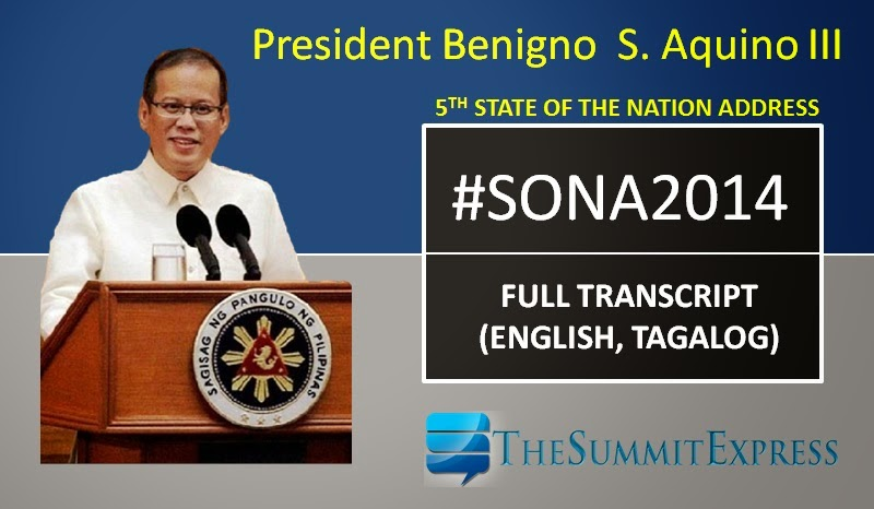 President Aquino 'PNoy' SONA 2014 full transcript, speech (Tagalog, English) now available